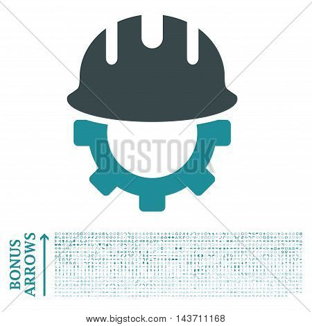 Development Hardhat icon with 1200 bonus arrow and direction pictograms. Vector illustration style is flat iconic bicolor symbols, soft blue colors, white background.