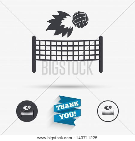 Volleyball net with fireball sign icon. Beach sport symbol. Flat icons. Buttons with icons. Thank you ribbon. Vector