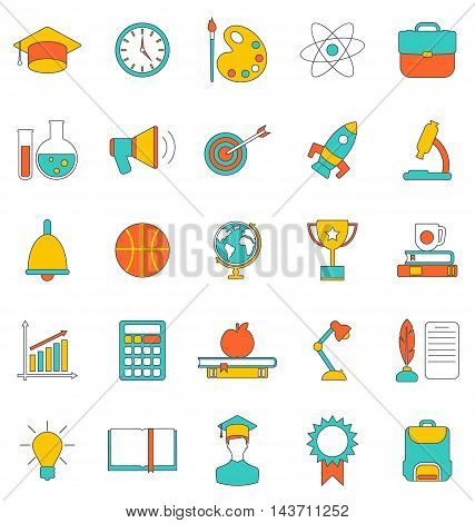 Illustration Set Flat Line Colorful Icons of School Equipment and Tools. Modern Trend Design. Group Objects Isolated on White Background - Vector