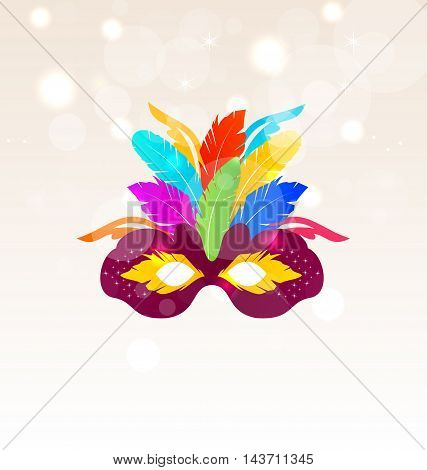 Illustration Colorful Carnival Mask with Feathers on Glowing Background, Copy Space for Your Text - Vector