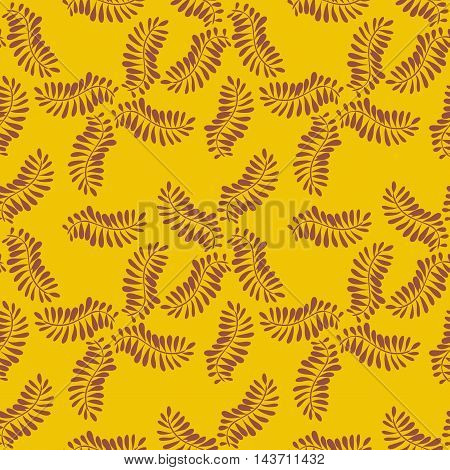 Acacia plant patternVector pattern plant leaf acacia or fern, purple shadow on yellow background