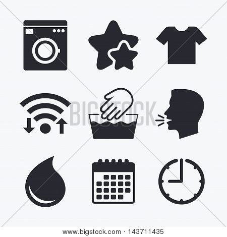 Wash machine icon. Hand wash. T-shirt clothes symbol. Laundry washhouse and water drop signs. Not machine washable. Wifi internet, favorite stars, calendar and clock. Talking head. Vector