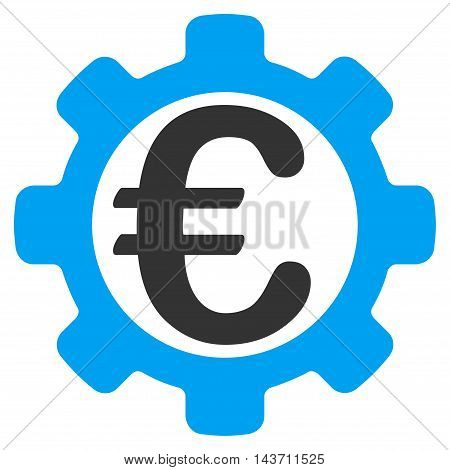 Euro Options icon. Glyph style is bicolor flat iconic symbol with rounded angles, blue and gray colors, white background.