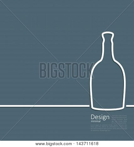 Illustration web template logo of bottle wine in minimal flat style line - vector