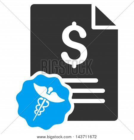 Medical Invoice icon. Glyph style is bicolor flat iconic symbol with rounded angles, blue and gray colors, white background.