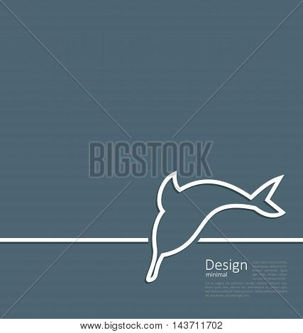 Illustration logo of dolphin in minimal flat style line - vector