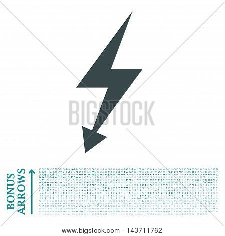 Electric Strike icon with 1200 bonus arrow and navigation pictograms. Vector illustration style is flat iconic bicolor symbols, soft blue colors, white background.