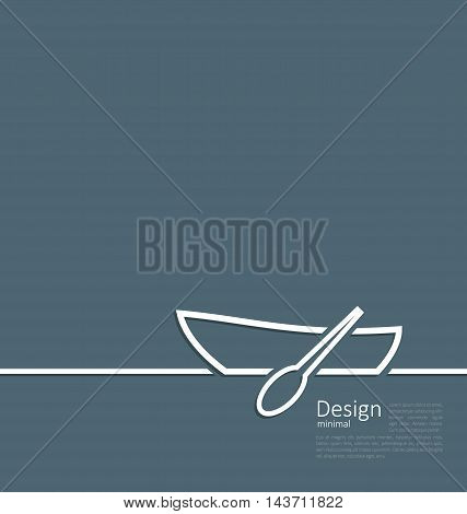Illustration logo of row boat in minimal flat style line - vector