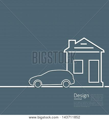 Web template house and parking car logo in minimal flat style cleaness line - vector