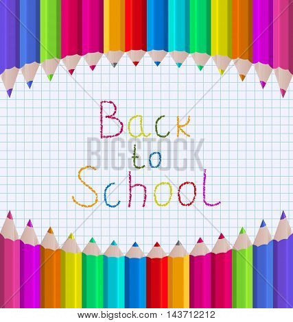 Illustration Rainbow of Pencils on Paper Sheet, Back to School Background - Vector