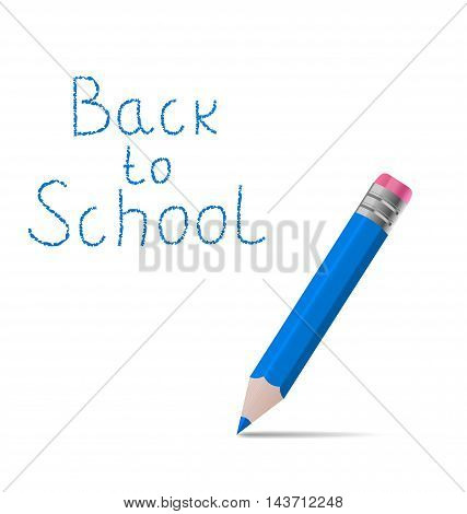 Illustration back to school message with pencil on white background - vector