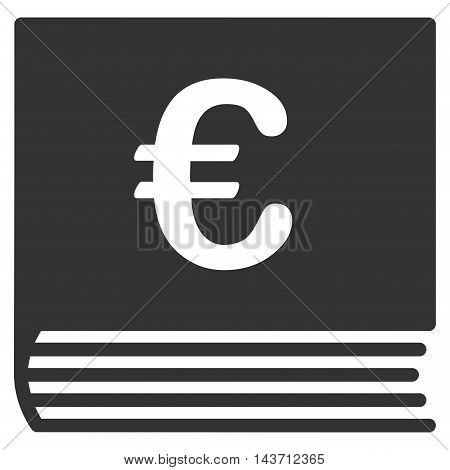 Euro Sales Book icon. Glyph style is flat iconic symbol with rounded angles, gray color, white background.