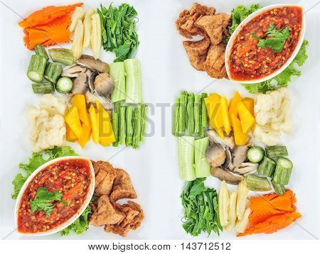 Traditional Thai mix spicy sauce or Nam Prik in Thai name with mix vegetable