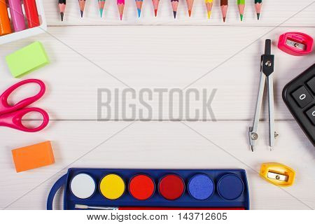 Frame Of School Accessories On White Boards, Back To School Concept, Copy Space For Text