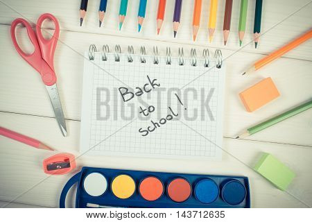 Vintage Photo, School Accessories On White Boards, Back To School Concept