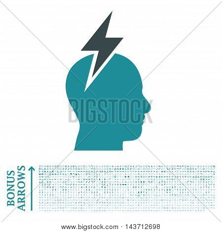 Headache icon with 1200 bonus arrow and navigation pictograms. Vector illustration style is flat iconic bicolor symbols, soft blue colors, white background.