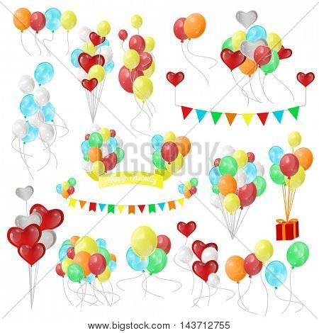 Color Glossy Balloons. Set for holiday, birthday balloons, flags, gift, card. Party design decoration elements. Vector illustration isolated on white background