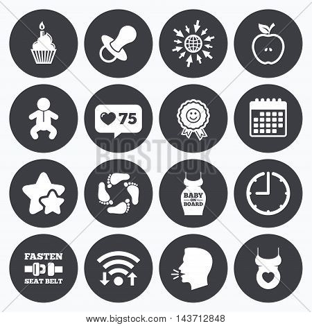 Calendar, wifi and clock symbols. Like counter, stars symbols. Pregnancy, maternity and baby care icons. Apple, award and pacifier signs. Footprint, birthday cake and newborn symbols. Talking head, go to web symbols. Vector