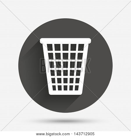 Recycle bin sign icon. Bin symbol. Circle flat button with shadow. Vector