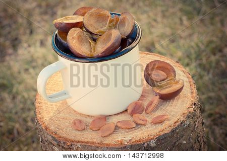 Vintage Photo, Plums In Metallic Mug On Wooden Stump In Garden On Sunny Day