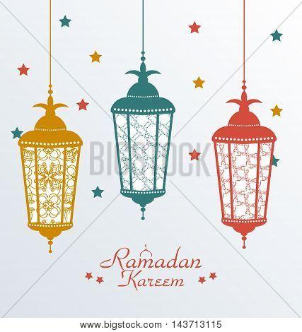 Illustration Intricate Colorful Arabic Lamps for Ramadan Kareem - vector