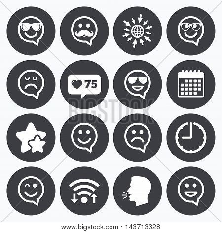 Calendar, wifi and clock symbols. Like counter, stars symbols. Smile speech bubbles icons. Happy, sad and wink faces signs. Sunglasses, mustache and laughing lol smiley symbols. Talking head, go to web symbols. Vector