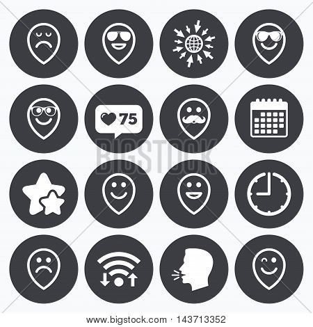Calendar, wifi and clock symbols. Like counter, stars symbols. Smile pointers icons. Happy, sad and wink faces signs. Sunglasses, mustache and laughing lol smiley symbols. Talking head, go to web symbols. Vector