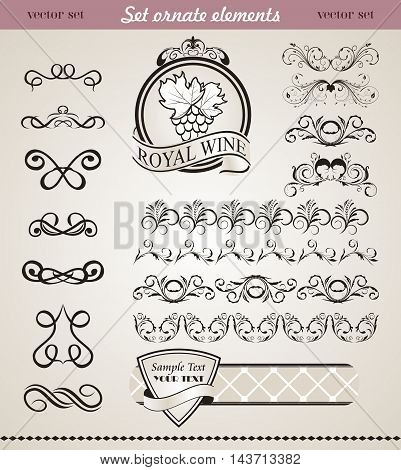 Illustration set floral ornate design elements 4 - vector