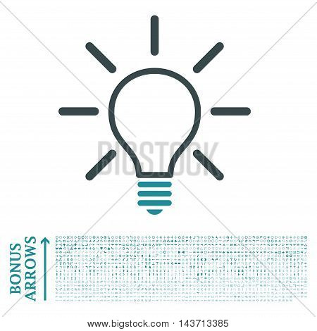 Light Bulb icon with 1200 bonus arrow and navigation pictograms. Vector illustration style is flat iconic bicolor symbols, soft blue colors, white background.