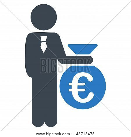 Euro Banker icon. Glyph style is bicolor flat iconic symbol with rounded angles, smooth blue colors, white background.