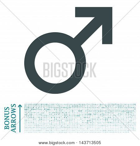 Male Symbol icon with 1200 bonus arrow and navigation pictograms. Vector illustration style is flat iconic bicolor symbols, soft blue colors, white background.