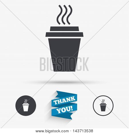 Take a Coffee sign icon. Hot Coffee cup. Flat icons. Buttons with icons. Thank you ribbon. Vector