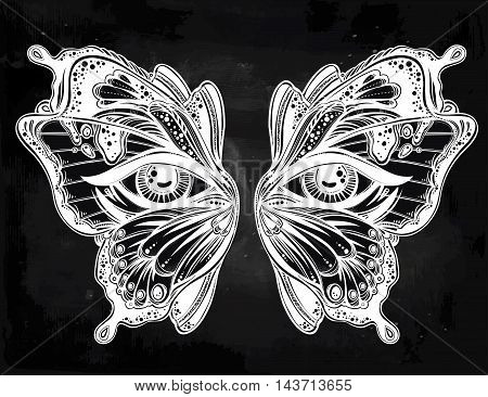 Beautiful butterfly wings mask with eyes in retro flash tattoo style. Fantasy, spirituality, occultism, tattoo art, coloring books. Isolated vector illustration. Trendy print. butterfly wings