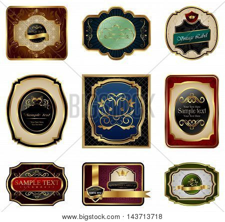 Illustration set of decorative color gold frames labels - vector