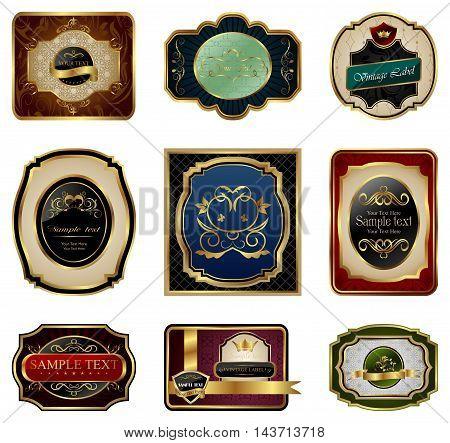 Illustration set of decorative color gold frames labels - vector