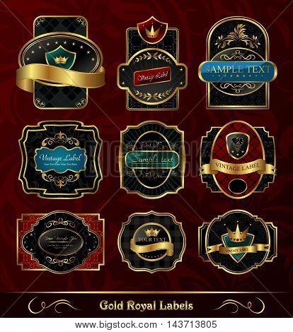 Illustration set black gold framed labels - vector