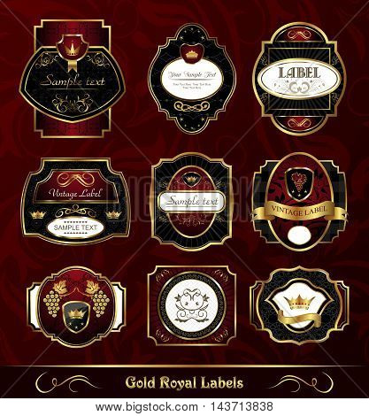 Illustration set dark gold frame labels - vector