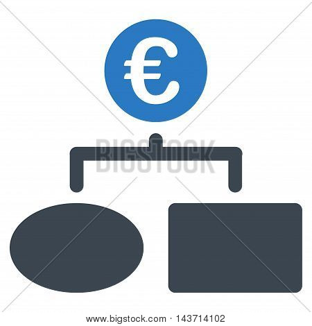 Euro Flow Chart icon. Glyph style is bicolor flat iconic symbol with rounded angles, smooth blue colors, white background.