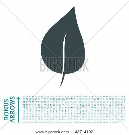 Plant Leaf icon with 1200 bonus arrow and direction pictograms. Vector illustration style is flat iconic bicolor symbols, soft blue colors, white background.