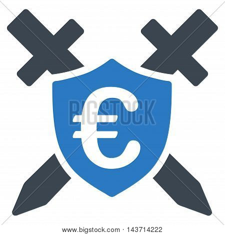 Euro Guard Shield icon. Glyph style is bicolor flat iconic symbol with rounded angles, smooth blue colors, white background.
