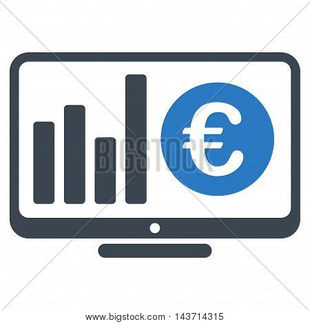 Euro Market Monitoring icon. Glyph style is bicolor flat iconic symbol with rounded angles, smooth blue colors, white background.