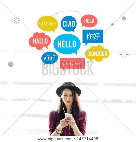 Different Language Speech Bubble Hello Concept