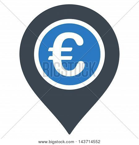 Euro Pointer icon. Glyph style is bicolor flat iconic symbol with rounded angles, smooth blue colors, white background.