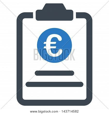 Euro Prices Pad icon. Glyph style is bicolor flat iconic symbol with rounded angles, smooth blue colors, white background.
