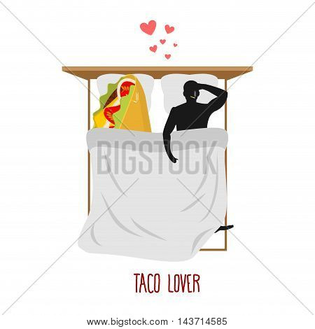 Lover Taco. Love To Mexican Food. Fastfood And Man. Food Lovers In Bed Top View. Man And Food Lie In