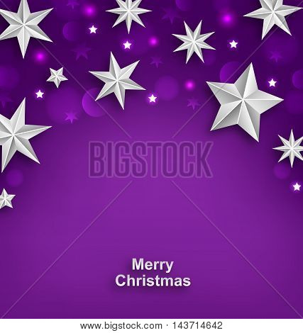 Illustration Purple Abstract Celebration Background with Silver Stars for Merry Christmas - Vector