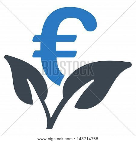 Euro Startup Sprout icon. Glyph style is bicolor flat iconic symbol with rounded angles, smooth blue colors, white background.