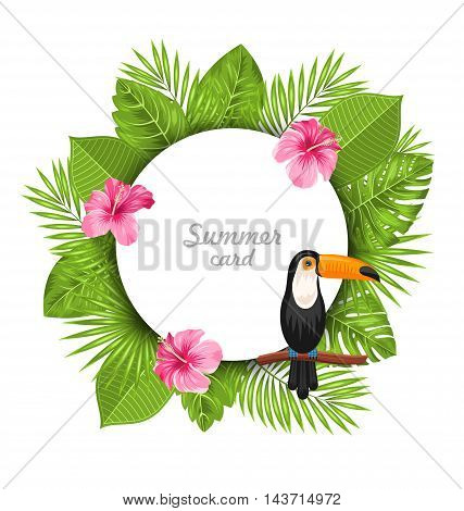 Illustration Summer Card with Pink Roses Mallow, Toucan Bird on Branch and Green Tropical Leaves - Vector