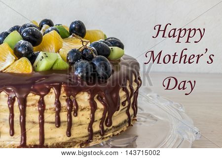Greeting card mother's day (half chocolate cake)