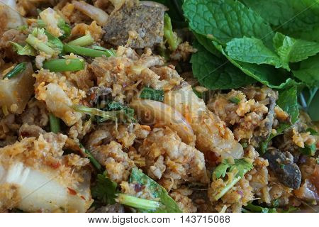 Thai spicy minced pork salad is the traditonal food